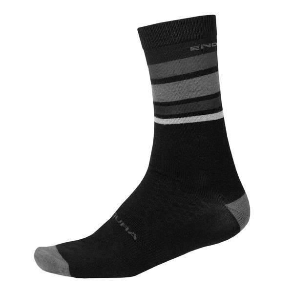 BaaBaa Merino Stripe Sock - Matt Black
