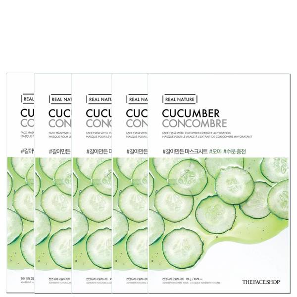 THE FACE SHOP Real Nature Sheet Mask - Cucumber (Pack of 5)