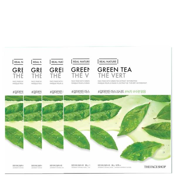 THE FACE SHOP Real Nature Sheet Mask - Green Tea (Pack of 5)
