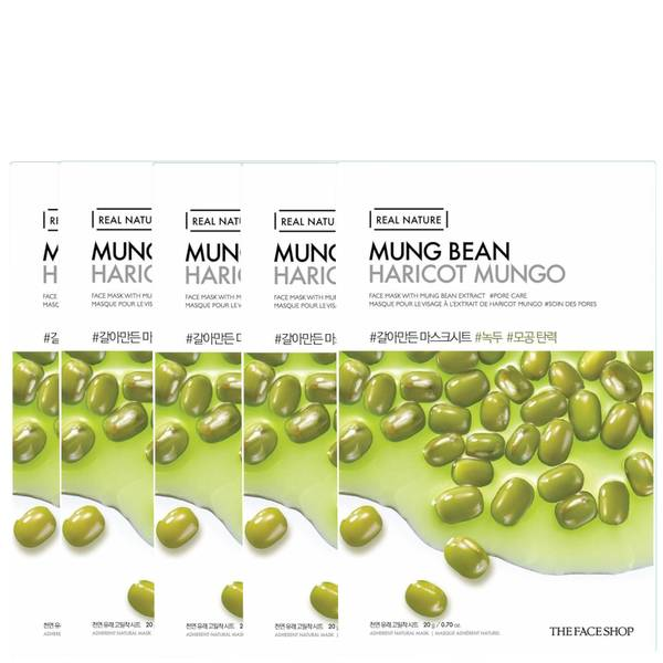THE FACE SHOP Real Nature Sheet Mask - Mung Bean (Pack of 5)