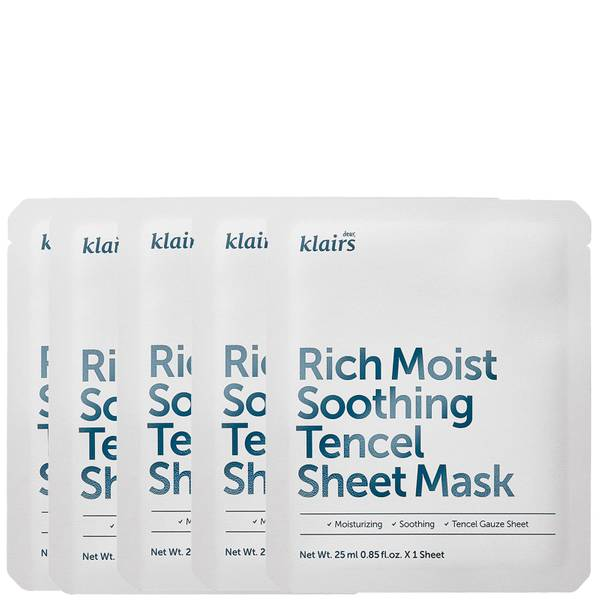 Dear, Klairs Rich Moist Soothing Tencel Sheet Mask (Pack of 5)