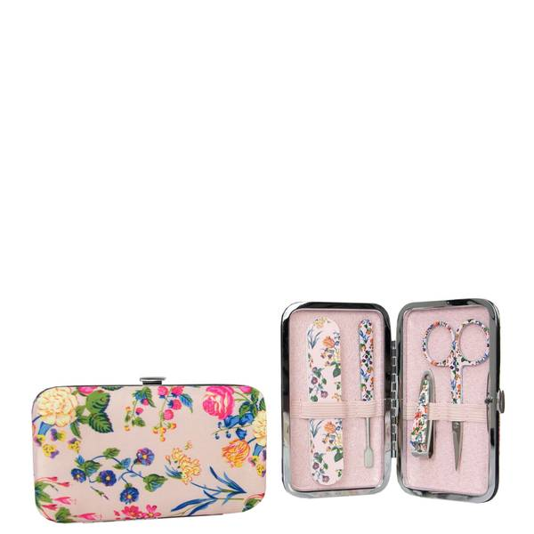 The Vintage Cosmetic Company Pink Floral Satin Manicure Purse