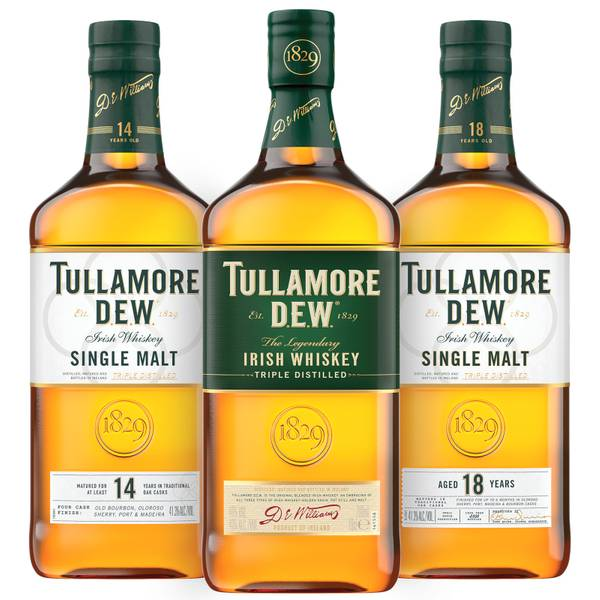 Tullamore D.E.W. Single Malt Collection – 14 and 18 Year Old Single Malts with Tullamore D.E.W. Original Blended Irish Whiskey