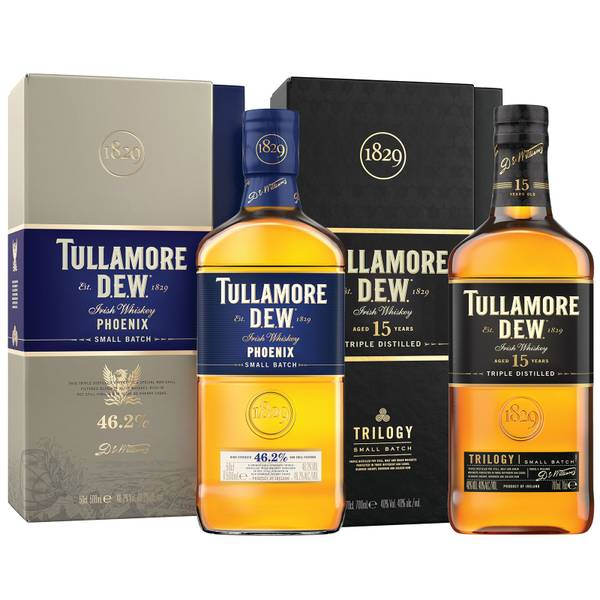 Tullamore D.E.W. Limited Edition Duo – Limited Edition Phoenix and 15 Year Old Trilogy Irish Whiskey