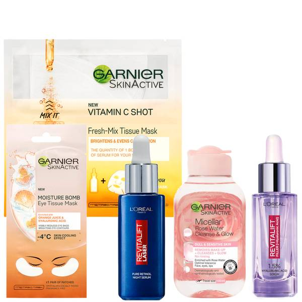 L'Oreal Paris X Garnier Brightening Booster with Hyaluronic Acid and Vitamin C Bundle