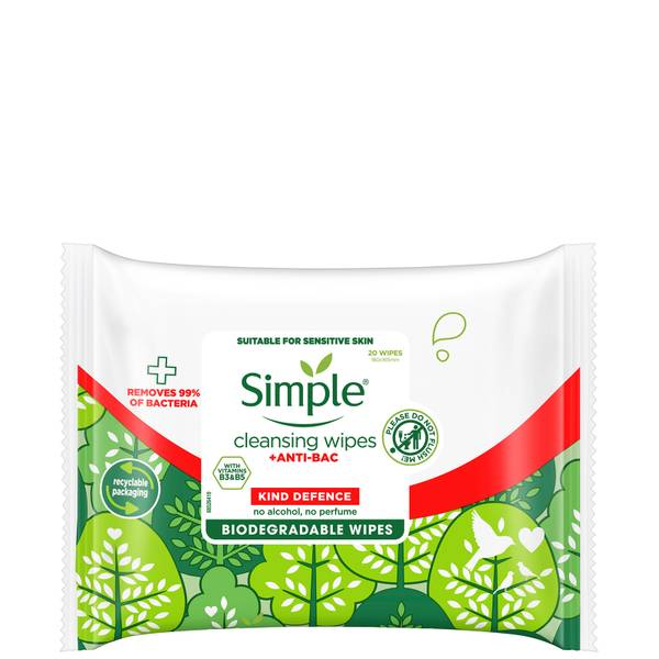 Simple Kind Defence Anti-Bac Cleansing Wipes