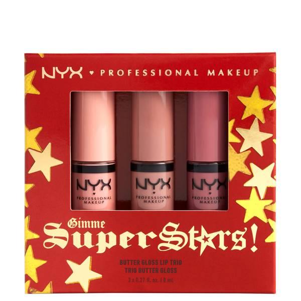 NYX Professional Makeup Gimme Super Stars! Butter Gloss Lip Trio Light Nude Gift Set