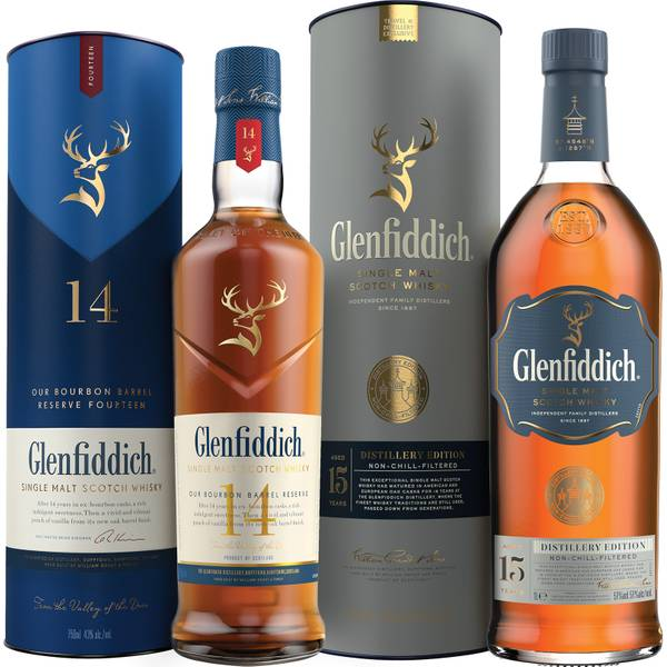 Glenfiddich 14 Year Old and 15 Year Old Distillery Edition Single Malt Scotch Whisky Duo
