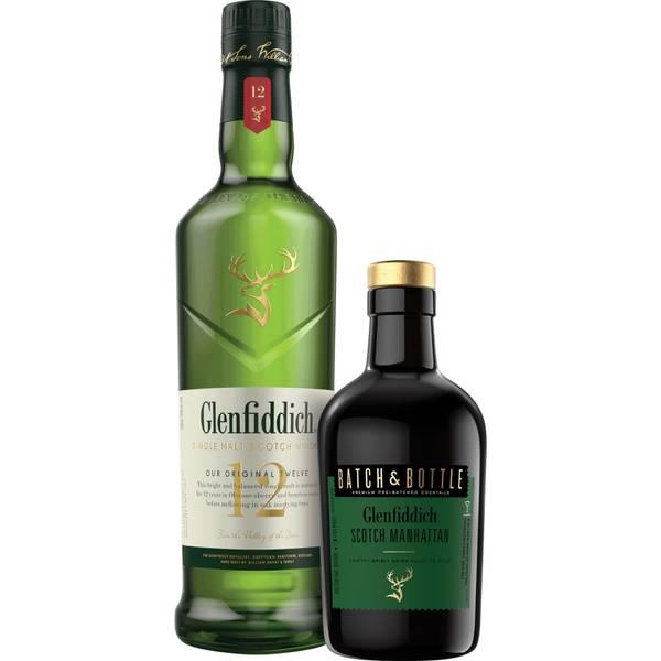 Glenfiddich 12 Single Malt Whisky and Batch & Bottle Scotch Manhattan Bundle