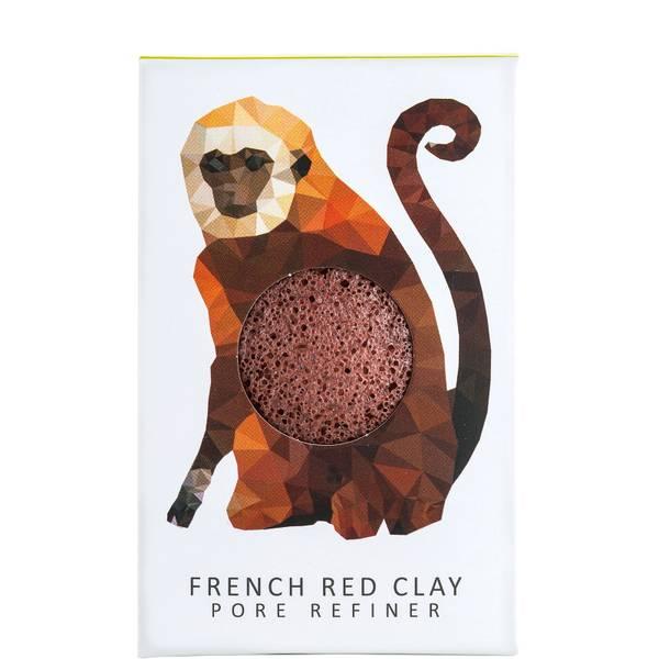 The Konjac Sponge Company Konjac Mini Pore Refiner Rainforest Monkey French Red Clay