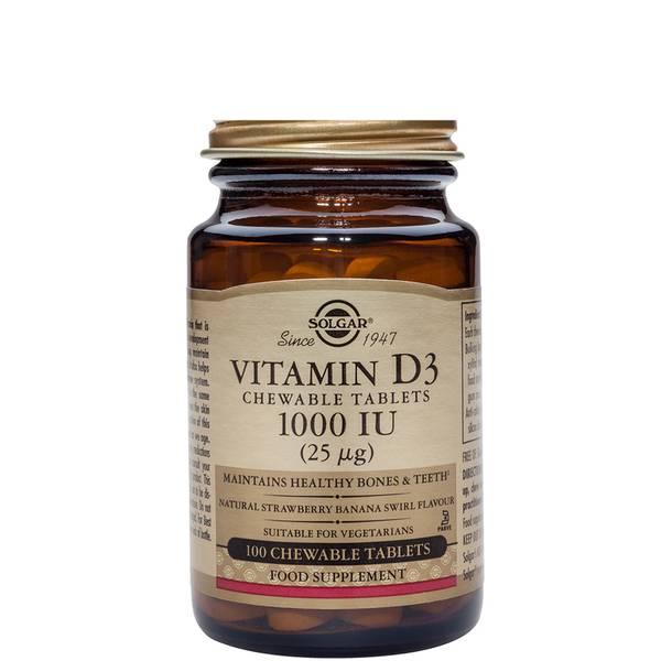 Solgar Vitamin D3 1000 IU (25 mcg) Chewable Tablets