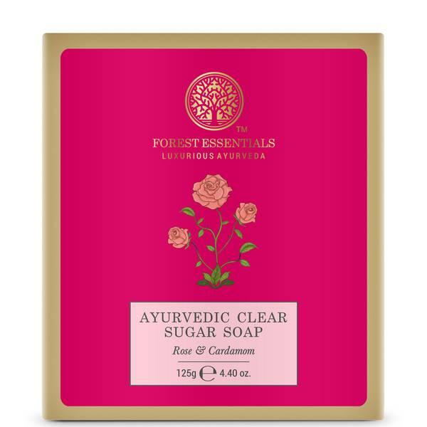 Forest Essentials Ayurvedic Clear Sugar Soap - Rose and Cardamom 125g