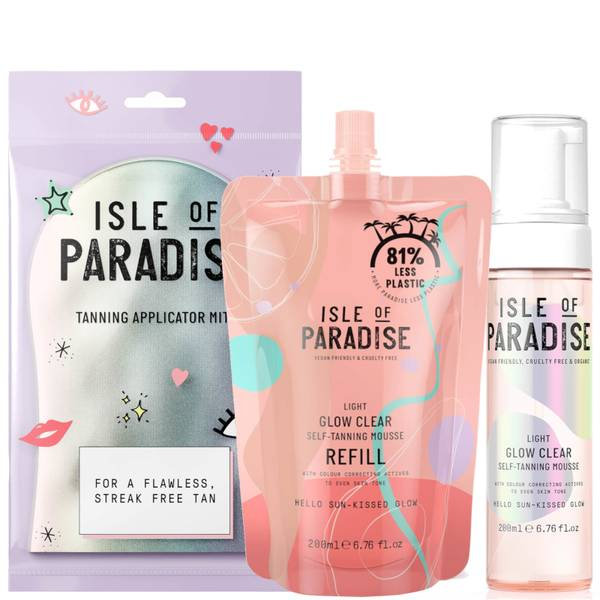 Isle of Paradise Light Glow Clear Mousse and Refill and Mitt Bundle