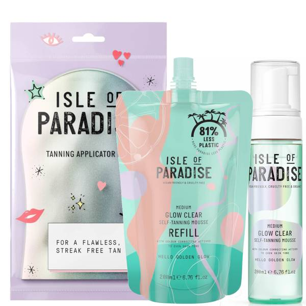 Isle of Paradise Medium Glow Clear Mousse and Refill and Mitt Bundle