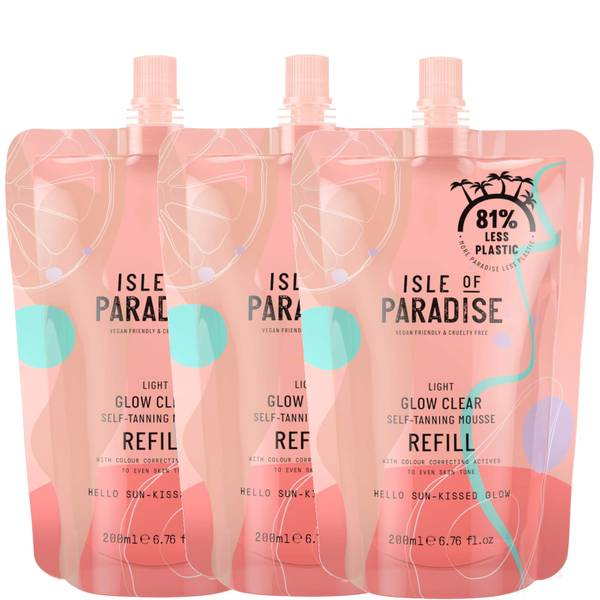 Isle of Paradise Light Glow Clear Mousse Refill Trio