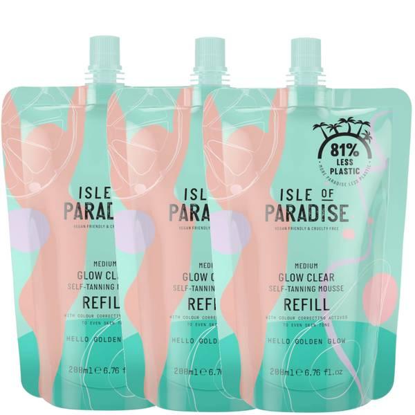 Isle of Paradise Medium Glow Clear Mousse Refill Trio