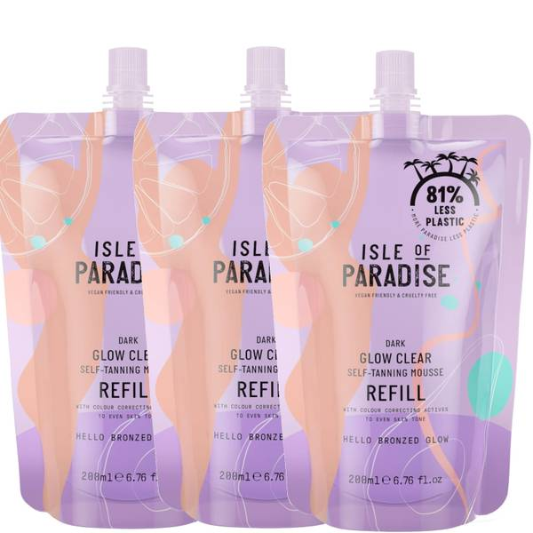 Isle of Paradise Dark Glow Clear Mousse Refill Trio