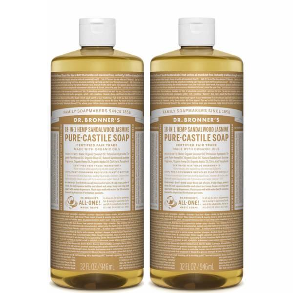 Dr. Bronner's Sandalwood and Jasmine Pure-Castile Liquid Soap Duo