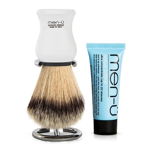 men-ü DB Premier Shave Brush with Chrome Stand – White