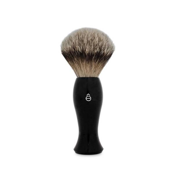 e-Shave銀邊獾毛長柄剃鬚刷 - 黑色