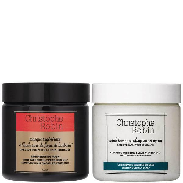 Christophe Robin Cleansing Purifying Sea Salt Scrub (250 ml) og Regenerating Mask med Rare Prickly PearSeed Oil(250ml)