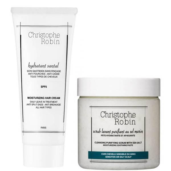 Christophe Robin Cleansing Purifying Sea Salt Scrub (250 ml) og Moisturizing Hair Cream (100 ml)