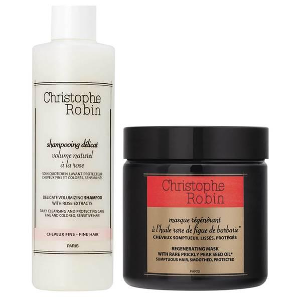 Shampoing délicat volumisant à l'extrait de rose et Masque régénérant à l'huile rare de figue de barbarie Duo Christophe Robin