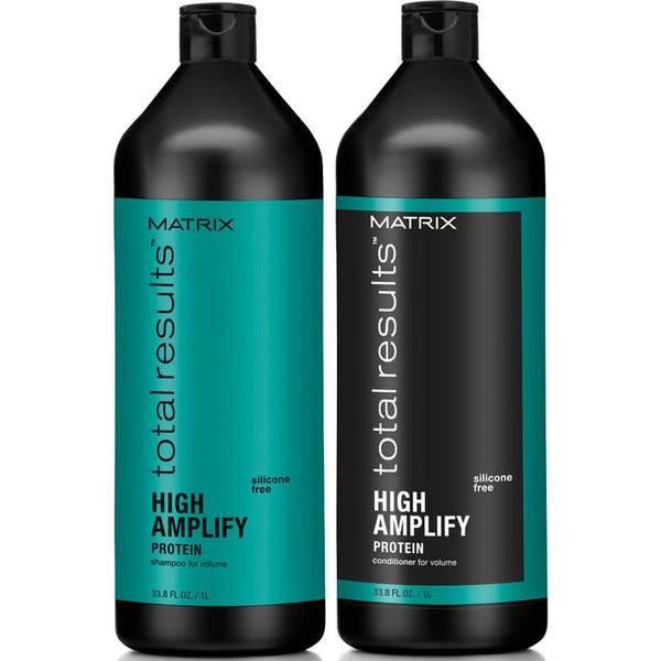 Шампунь для объема Matrix Total Results High Amplify Shampoo (1000 мл), кондиционер (1000 мл) и спрей (250 мл)