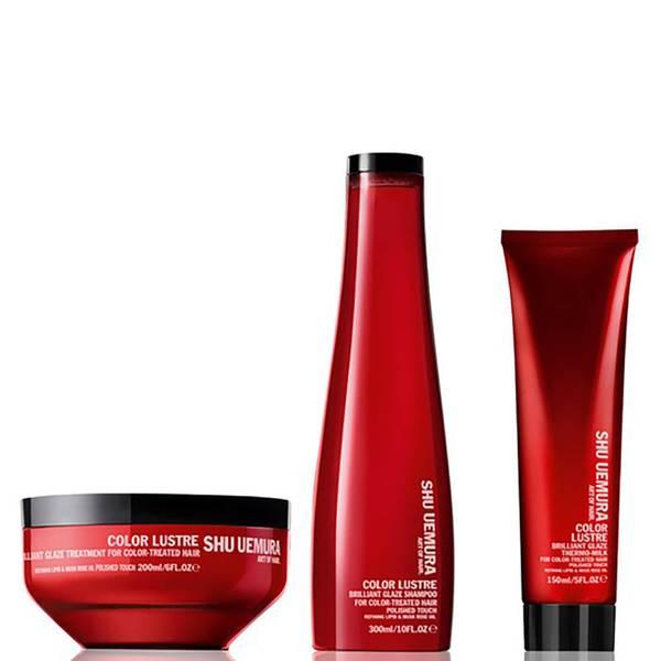 Shu Uemura Art of Hair Color Lustre Sulfatfreies Shampoo (300ml), Maske (200ml) und Thermo-Milk (150ml)