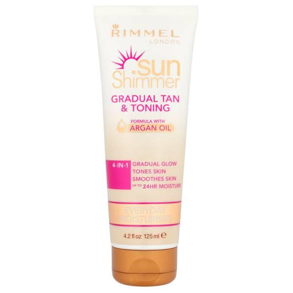 Loción tonificadora y autobronceadoraSunshimmer Gradual Tan & Tone Lotion de Rimmel 125 ml