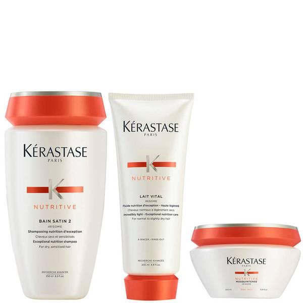 Kérastase Nutritive Bain Satin 2 250ml, Nutritive Lait Vital and Masquintense Cheveux Epais For Thick Hair 200ml