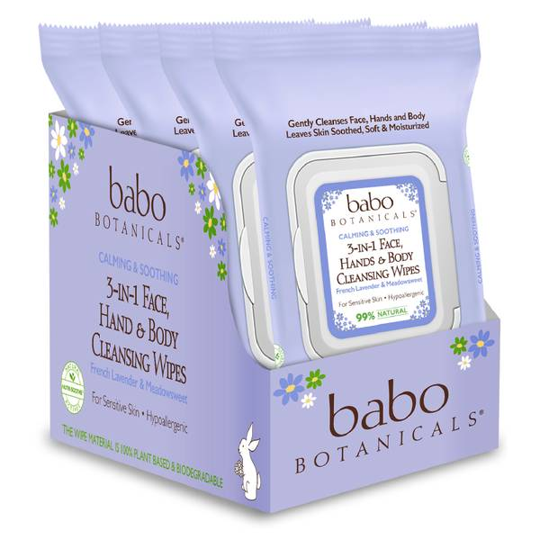 Babo Botanicals 3-in-1 Calming Face, Hand, Body Wipes - Lavender & Meadowsweet (4 Pack)