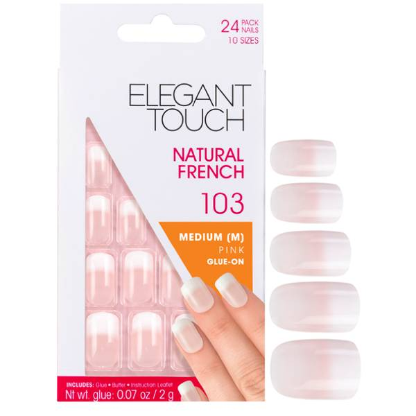 Elegant Touch Natural French Nails - 103 (M) (Pink) (Fade Tip)