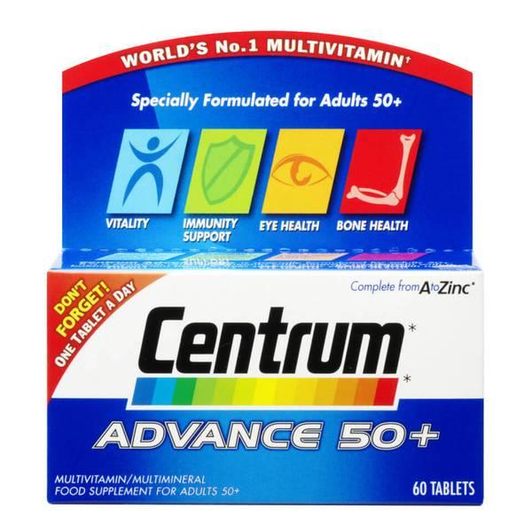 أقراص الفيتامينات المتعددة Advance 50 Plus من Centrum - (60 قرص)