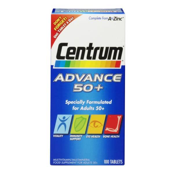 أقراص الفيتامينات المتعددة Advance 50 Plus من Centrum - (100 قرص)