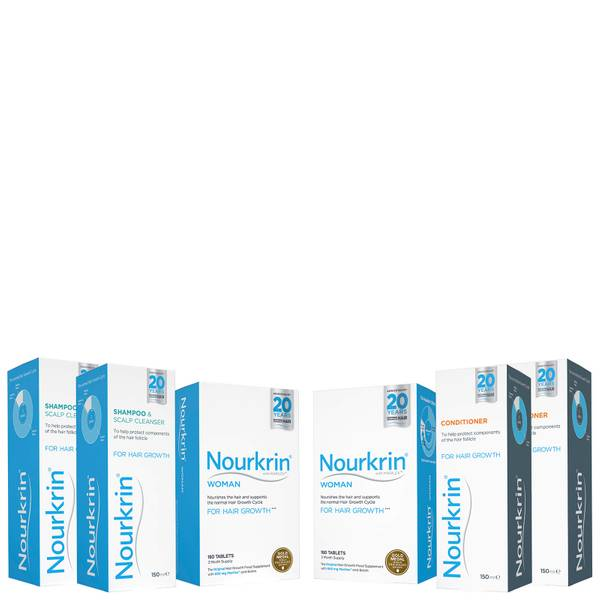 Nourkrin Woman Hair Growth Supplements 6 Month Bundle with Shampoo and Conditioner x2