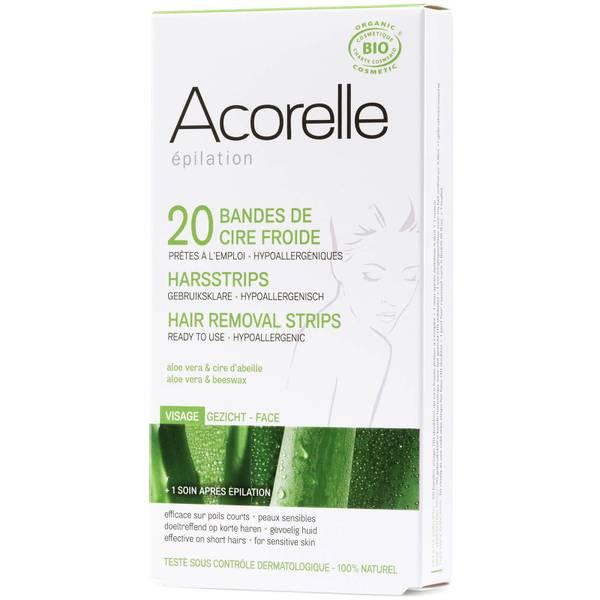 Bandas depilatorias para el rostro con aloe vera y cera de abejas de Acorelle - 20 bandas