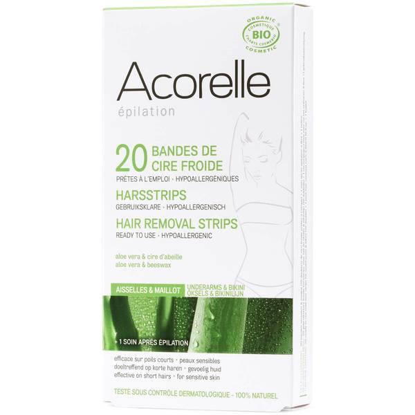 Acorelle Ready to Use Aloe Vera and Beeswax Underarms and Bikini Strips(아코렐 레디 투 유즈 알로에 베라 앤 비스왁스 언더암 앤 비키니 스트립 - 20 스트립)