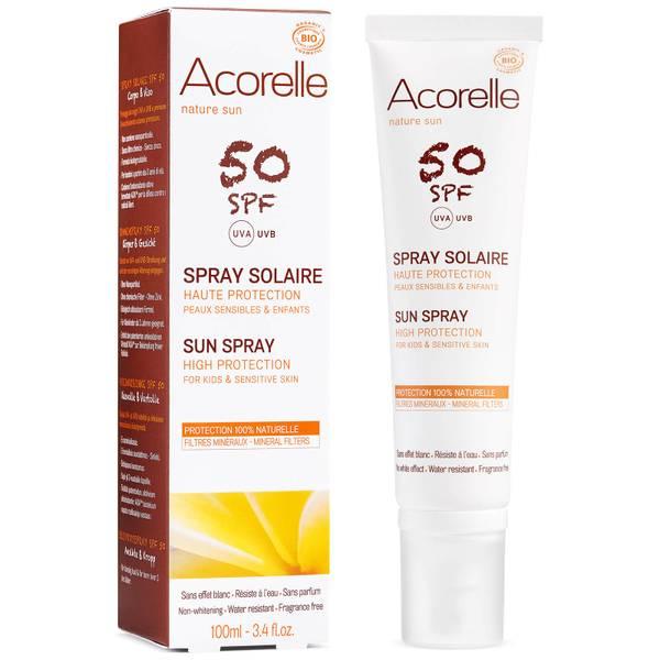 Crema solar orgánica en espray para niños con SPF 50 de Acorelle 100ml