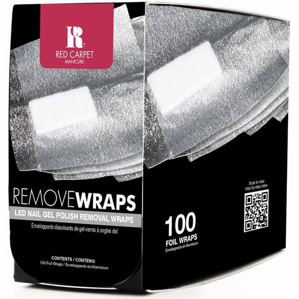 Red Carpet Manicure LED Nail Gel Polish Removal Wraps - 100 Wraps