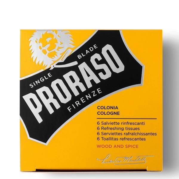 Proraso リフレッシング ティッシュー - ウッド&スパイス (6個パック)