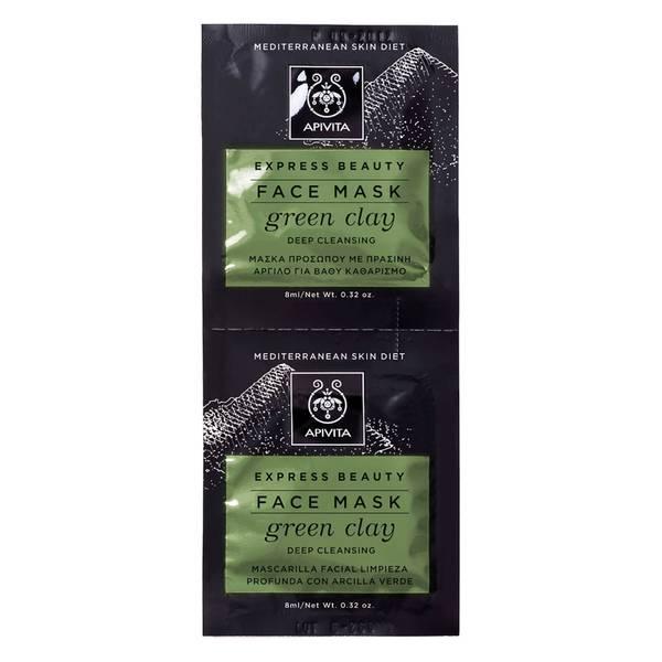 Mascarilla facial para limpieza profunda Express de APIVITA - Arcilla verde 2 x 8 ml