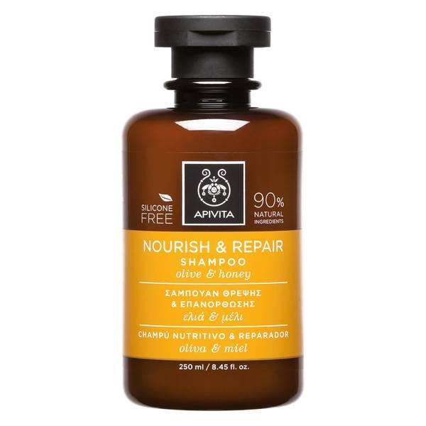 Champú nutritivo y reparador para el cuidado holístico del cabello de APIVITA - oliva y miel 250 ml