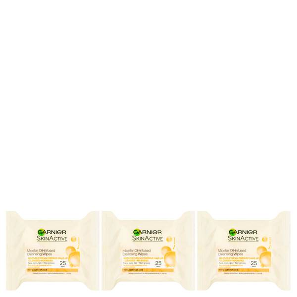 Garnier Micellar Oil-Infused Cleansing Face Wipes 25 Wipes (3 Pack)