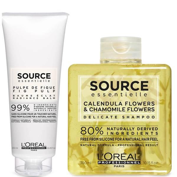 Duo de Shampooing Délicat et de Baume Éclat Source Essentielle L'Oréal Professionnel Paris