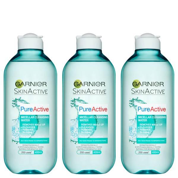 Garnier Pure Active Micellar Water facial cleanser Oily Skin 400ml (3 Pack)