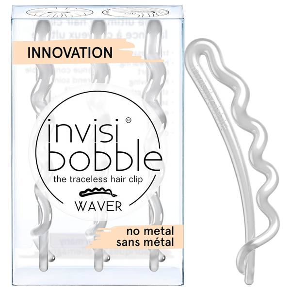 invisibobble Waver Slide-Lock Hair Clip - Crystal Clear (Pack of 3)