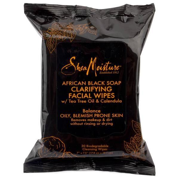 SheaMoisture African Black Soap Clarifying Facial Wipes (Pack of 30)