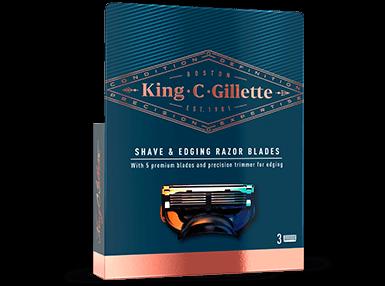 King C. Gillette Shave & Edging Razor Blades, Bartrasierer Ersatzklingen 3er Pack