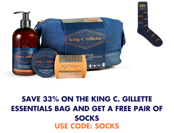 Get a FREE pair of socks with the King C. Gillette Essentials Washbag